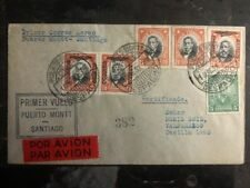 1930 Port Montt Chile First Flight cover FFC to Santiago