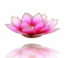Lotus Teelichthalter Rosa mit goldfarbenem Rand Geschenkidee