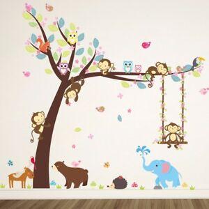 Jungle Animal Monkey Elephant Owl Tree Decal Wall Sticker Children's Bedroom
