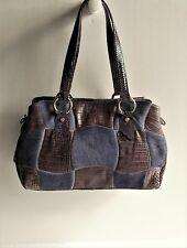 PAOLA DEL LUNGO Italy Croc Embossed Leather & Pony Hair Patchwork Shoulder Bag