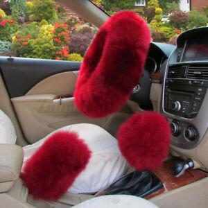 3Pcs/Set Soft Plush Wool Steering Wheel Cover Furry Fluffy Car Accessory *