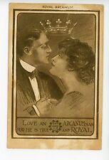 """Love a Royal Arcanum Man"" Rare Antique Advertising—Crown British 1910s"