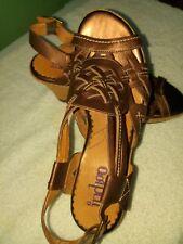 Indigo by Clarks Dark Brown, Wedge Bottom Strappy Leather Sandals Size 9M-