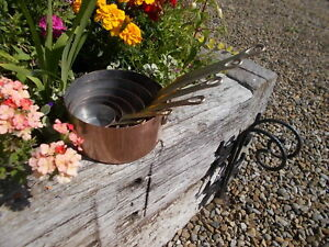 Lovely Set 6 French Vintage Tin Lined Copper Pans With Brass Handles  Ref MP/161