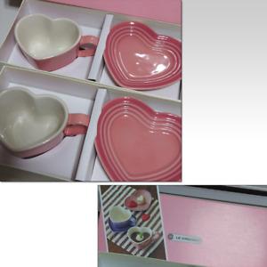 Le Creuset Heart Shaped Pair Mug Cup & Saucer Rose Quartz Boxed from Japan Rare