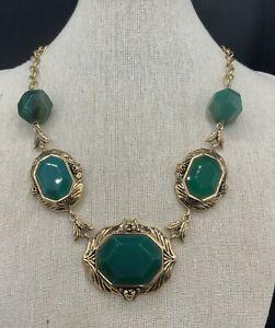 Barse Emerald Isle Necklace- Emerald Quartz- Bronze-NWT