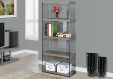 """Monarch Specialities Bookcase - 60""""H / Dark Taupe With Tempered Glass (I-3060)"""
