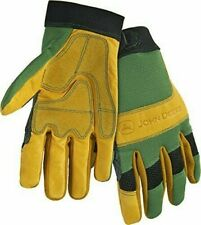 John Deere Cowhide Work Gloves with Spandex Back (Green/Black)(Large) NEW!