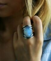 925 Silver Blue Fire Opal Ring Women Fashion Wedding Party Jewelry Gift Sz 6-10