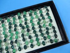*US Seller*20 rings wholesale green agate stone fashion ring