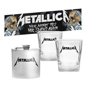 Metallica Set of 2 Spirit Glasses with Flask and Bar Mat Runner