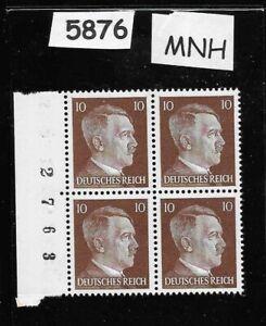 #5876   MNH Hitler stamp block / 1941 PF10 / Original Third Reich Germany Block