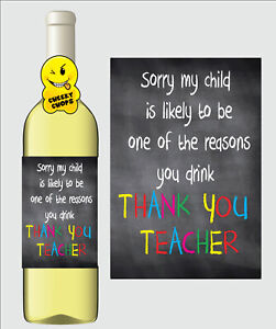 Funny Wine Label Gift Thank You Teacher Teaching Assistant - WL22