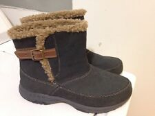 Easy Spirit Womens 8 Gray Suede Brown Faux Fur Trim Ankle Boots Estravels