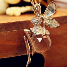 Best Lovely Angel Wings Butterfly Crystal Necklace Long Sweater Chain Jewelry
