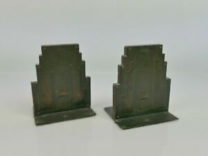 Superb pair of bronze / wood Art Deco book ends     |265