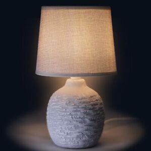 Lampada da Tavolo Lume Comodino Ceramica Tessuto Grigio Design Moderno Abatjour