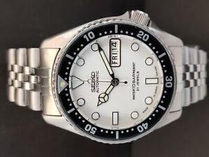 SEIKO DIVER AUTOMATIC WATCH 7S26-0030 SKX013 WHITE FACE MOD SN 681811