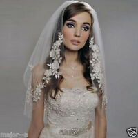 Ivory/White 2 Layer Bridal Elbow Lace Applique Edge Bridal Wedding Veil WithComb