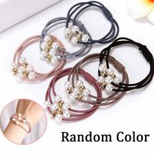 Fashion Rhinestone Crystal Pearl Hair Band Rope Elastic Ponytail Holder 5pcs