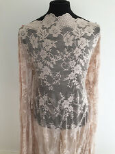 Nude Coloured Jacobean Floral Inspired Stretch Lace Dressmaking Fabric