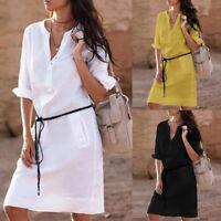 AU Womens Short Sleeve Casual Loose Tops Blouse T Shirt Mini Dress Ladies Summer