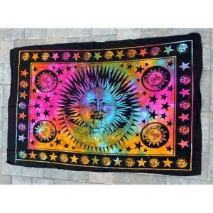 Sun Multi 100% Cotton Poster Size Wall Hanging Tapestry 45 x 29 Home Decor Art