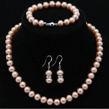 Genuine Aaa Cultured Freshwater 7-8mm Round pink Pearl Necklace set 18""