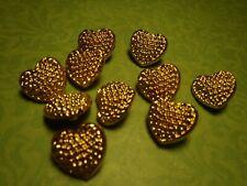 10 Vintage Heart Buttons 15mm Jewelry Craft Scrapbook Handbag Quilt Sew Knit