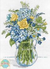 Juego de Punto Cruz Design Works Azul y Amarillo Floral Florero Cristal con / #