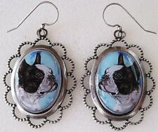 Boston Terrier Original Art Silver Plate Earrings