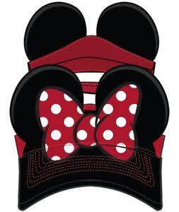 Disney Adult Hat Visor Minnie Bow Red Black