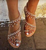 Womens Sandals Faux Pearl Sandals Gladiator Sandals Sz35-43 Summer Roma Shoes