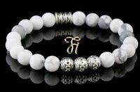 Howlith Armband Bracelet Perlenarmband Silber Beads Buddha weiß matt 8mm