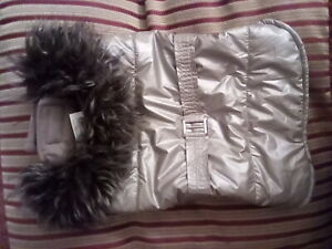 Top Paw Dog brown and gold Faux Fur Trim Quilted Jacket Coat size M