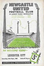 Football Programme>NEWCASTLE UNITED v LEICESTER CITY Sept 1960