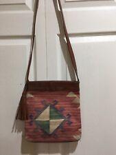 Vintage Aridza Bross Paris Colorful Tapestry Leather Trim Crossbody Tassel Bag
