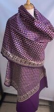 Vntg Indian Kashmiri Wool Shawl  Purple With Metallic Gold Paisley  94 x 46 NWT
