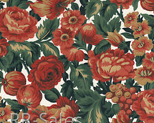 Rose and Fruit  Brick Red Green Floral Grape Double Roll Wallpaper Wall Covering