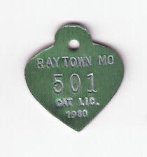 1980 Raytown Missouri Cat License Tag #501