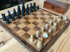 Antique Large St George Pattern Chess Set With Board & Box, K Over 9cm
