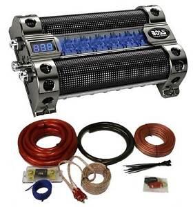 Boss CAP8 8 Farad LED Digital Car Power Capacitor Cap + 0 Gauge Wiring Kit