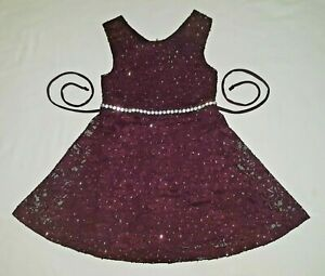 Girls size 2T burgundy party dress lace overlay SPEECHLESS Christmas MINT