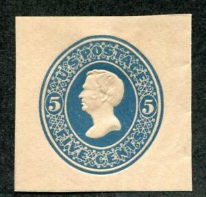 United States U180 Mint 5c blue on fawn cut square