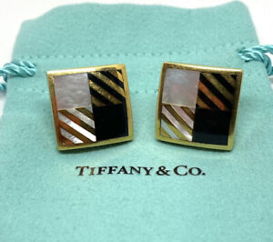 Tiffany & Co 18K Gold Angela Cummings Mother of Pearl Large Checkerboard Earring