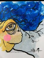 "PAINTING ORIGINAL ACRYLIC,PASTELS & MIXED MEDIA ON PAPER CUBAN ART 8X10""By LISA."
