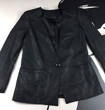 CAPULET Womens Black Faux Leather Blazer Jacket One Button Size Medium