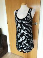 Ladies DPs Dress Size 10 Mini Black Silver Sequin Party Evening