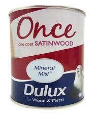 Dulux una vez Satinwood una capa interior de madera y metal pintura Niebla Mineral - 750ml