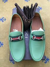 New Gucci Mens Shoes Green Horsebit Loafers Drivers UK 7.5 US 8.5 41.5 Web Red
